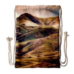 Iceland Mountains Sky Clouds Drawstring Bag (large) by Celenk