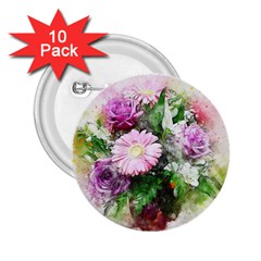 Flowers Roses Bouquet Art Nature 2 25  Buttons (10 Pack)