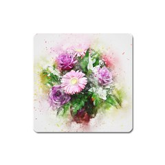 Flowers Roses Bouquet Art Nature Square Magnet by Celenk
