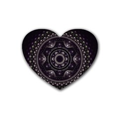 Fractal Mandala Circles Purple Rubber Coaster (heart)