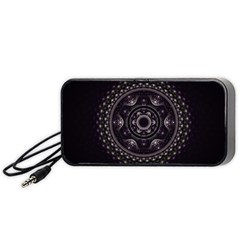 Fractal Mandala Circles Purple Portable Speaker
