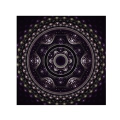 Fractal Mandala Circles Purple Small Satin Scarf (square) by Celenk