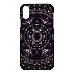 Fractal Mandala Circles Purple Apple Iphone X Hardshell Case by Celenk
