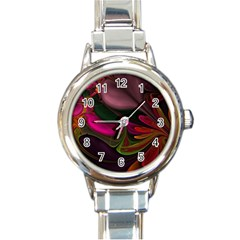 Fractal Abstract Colorful Floral Round Italian Charm Watch by Celenk