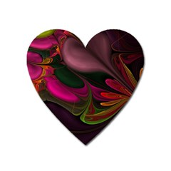 Fractal Abstract Colorful Floral Heart Magnet