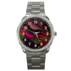 Fractal Abstract Colorful Floral Sport Metal Watch by Celenk
