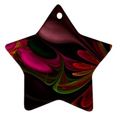 Fractal Abstract Colorful Floral Star Ornament (two Sides) by Celenk