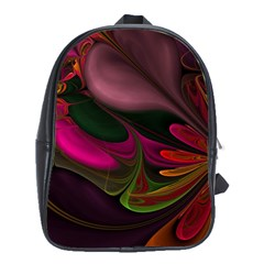 Fractal Abstract Colorful Floral School Bag (xl)