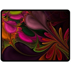 Fractal Abstract Colorful Floral Double Sided Fleece Blanket (large)