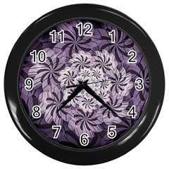 Fractal Floral Striped Lavender Wall Clocks (black)