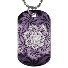 Fractal Floral Striped Lavender Dog Tag (two Sides)