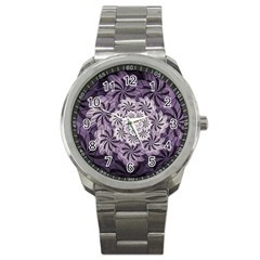 Fractal Floral Striped Lavender Sport Metal Watch by Celenk
