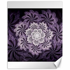 Fractal Floral Striped Lavender Canvas 11  X 14
