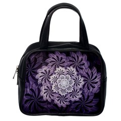 Fractal Floral Striped Lavender Classic Handbags (one Side) by Celenk