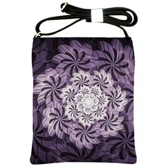 Fractal Floral Striped Lavender Shoulder Sling Bags by Celenk