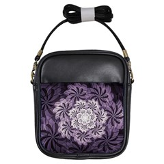 Fractal Floral Striped Lavender Girls Sling Bags