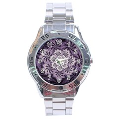 Fractal Floral Striped Lavender Stainless Steel Analogue Watch