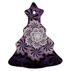 Fractal Floral Striped Lavender Christmas Tree Ornament (two Sides) by Celenk
