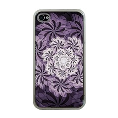 Fractal Floral Striped Lavender Apple Iphone 4 Case (clear)