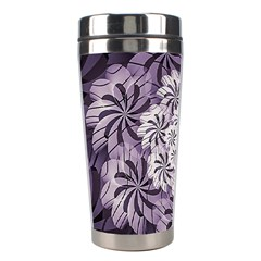Fractal Floral Striped Lavender Stainless Steel Travel Tumblers by Celenk