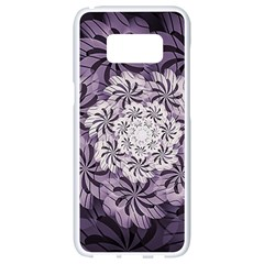 Fractal Floral Striped Lavender Samsung Galaxy S8 White Seamless Case