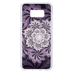 Fractal Floral Striped Lavender Samsung Galaxy S8 Plus White Seamless Case by Celenk