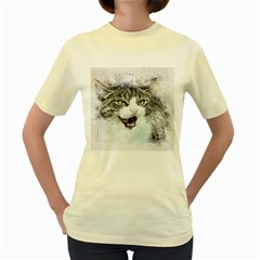 Cat Pet Art Abstract Watercolor Women s Yellow T Shirt