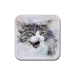 Cat Pet Art Abstract Watercolor Rubber Square Coaster (4 Pack)