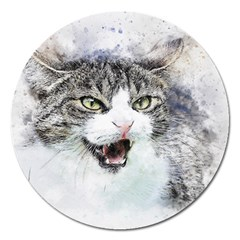 Cat Pet Art Abstract Watercolor Magnet 5  (round)