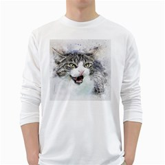 Cat Pet Art Abstract Watercolor White Long Sleeve T Shirts