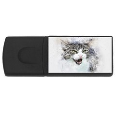 Cat Pet Art Abstract Watercolor Rectangular Usb Flash Drive by Celenk