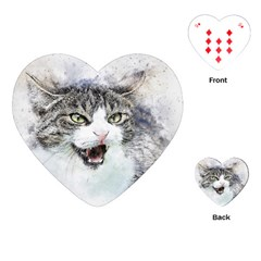 Cat Pet Art Abstract Watercolor Playing Cards (heart)