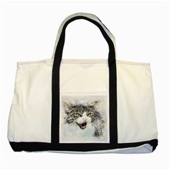 Cat Pet Art Abstract Watercolor Two Tone Tote Bag