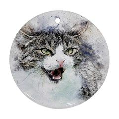 Cat Pet Art Abstract Watercolor Round Ornament (two Sides)