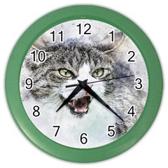 Cat Pet Art Abstract Watercolor Color Wall Clocks