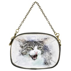 Cat Pet Art Abstract Watercolor Chain Purses (two Sides)