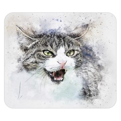 Cat Pet Art Abstract Watercolor Double Sided Flano Blanket (small)