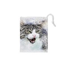 Cat Pet Art Abstract Watercolor Drawstring Pouches (xs)