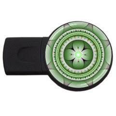 Fractal Mandala Green Purple Usb Flash Drive Round (4 Gb)