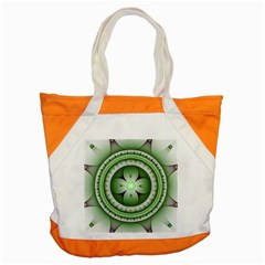 Fractal Mandala Green Purple Accent Tote Bag by Celenk