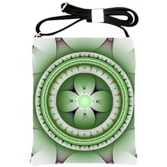 Fractal Mandala Green Purple Shoulder Sling Bags by Celenk