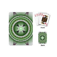 Fractal Mandala Green Purple Playing Cards (mini)  by Celenk