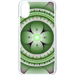Fractal Mandala Green Purple Apple Iphone X Seamless Case (white)
