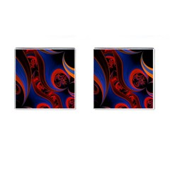 Fractal Abstract Pattern Circles Cufflinks (square)