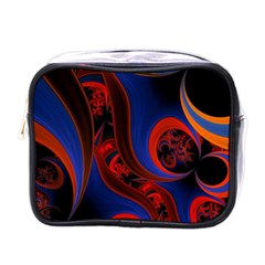 Fractal Abstract Pattern Circles Mini Toiletries Bags by Celenk