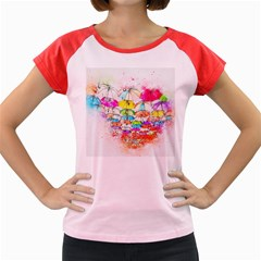 Umbrella Art Abstract Watercolor Women s Cap Sleeve T Shirt