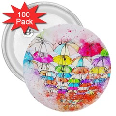 Umbrella Art Abstract Watercolor 3  Buttons (100 Pack)