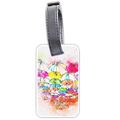 Umbrella Art Abstract Watercolor Luggage Tags (two Sides) by Celenk