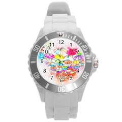 Umbrella Art Abstract Watercolor Round Plastic Sport Watch (l) by Celenk