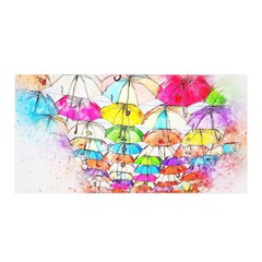 Umbrella Art Abstract Watercolor Satin Wrap